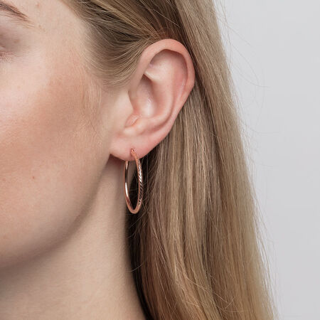 Patterned Hoop Earrings in 10kt Rose Gold