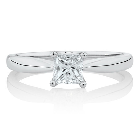 Evermore Engagement Ring with 0.70 Carat TW Diamond Solitaire in 14kt White Gold