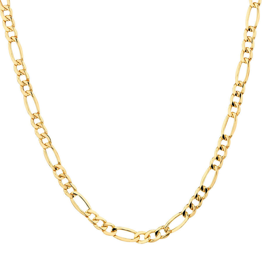 """50cm (20"""") Hollow Figaro Chain in 10kt Yellow Gold"""