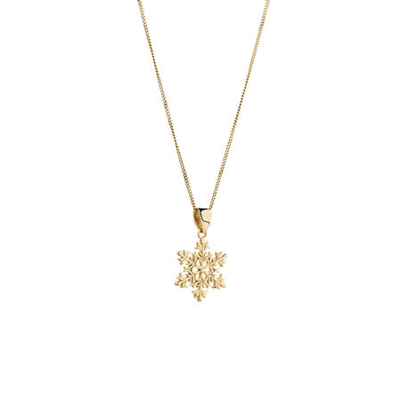 Snowflake Pendant in 10kt Yellow Gold