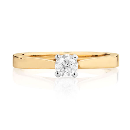 Certified Solitaire Engagement Ring with a 0.29 Carat Diamond in 14kt Yellow & White Gold