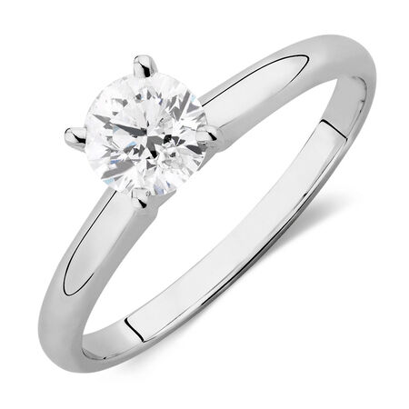 Evermore Solitaire Engagement Ring with 0.70 Carat TWDiamond in 14kt White Gold