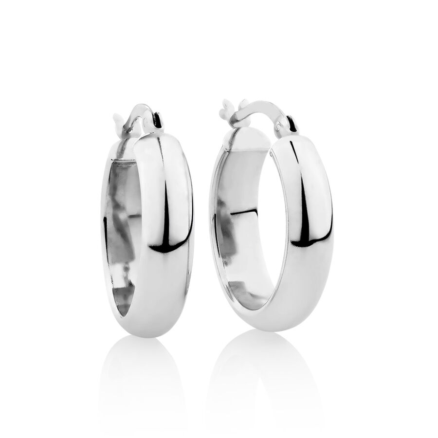 20mm Round Hoop Earrings in Sterling Silver