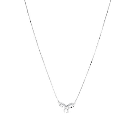 Bow Necklace with Diamonds in 10kt White Gold