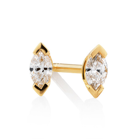 Marquise Stud Earrings with 0.14 Carat TW of Diamonds in 10kt Yellow Gold