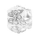 Cubic Zirconia & Sterling Silver Filigree Floral Charm
