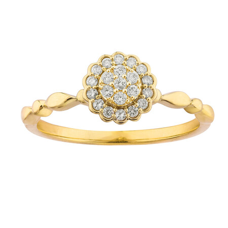 Cluster Ring with 0.15 Carat TW of Diamonds in 10kt Yellow Gold