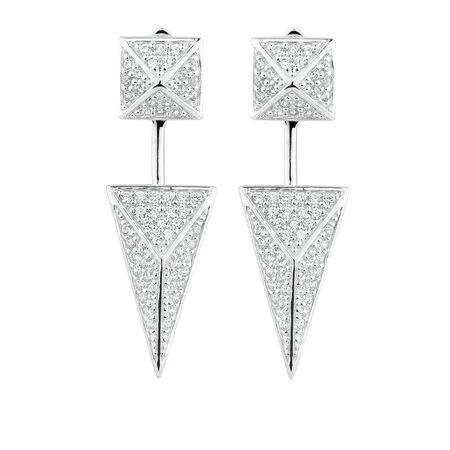 Geometric Stud Earrings & Earrings Enhancer Set with Cubic Zirconia in Sterling Silver