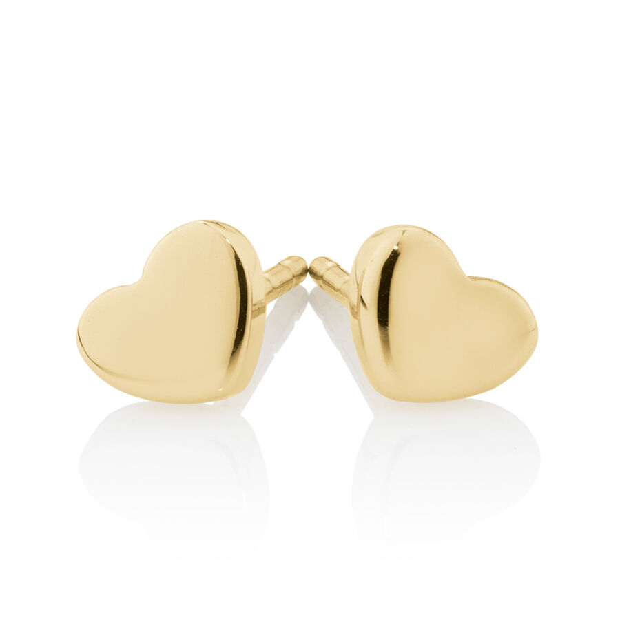 Heart Stud Earrings in 10kt Yellow Gold
