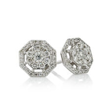 Online Exclusive - Octagon Stud Earrings with 1/2 Carat TW of Diamonds in 10kt White Gold