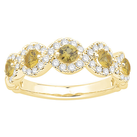 Ring with Natural Yellow Sapphire & 0.46 Carat TW of Diamonds in 14kt Yellow Gold