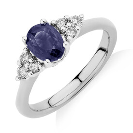 Ring With Blue Sapphire & Diamonds In 10kt White Gold