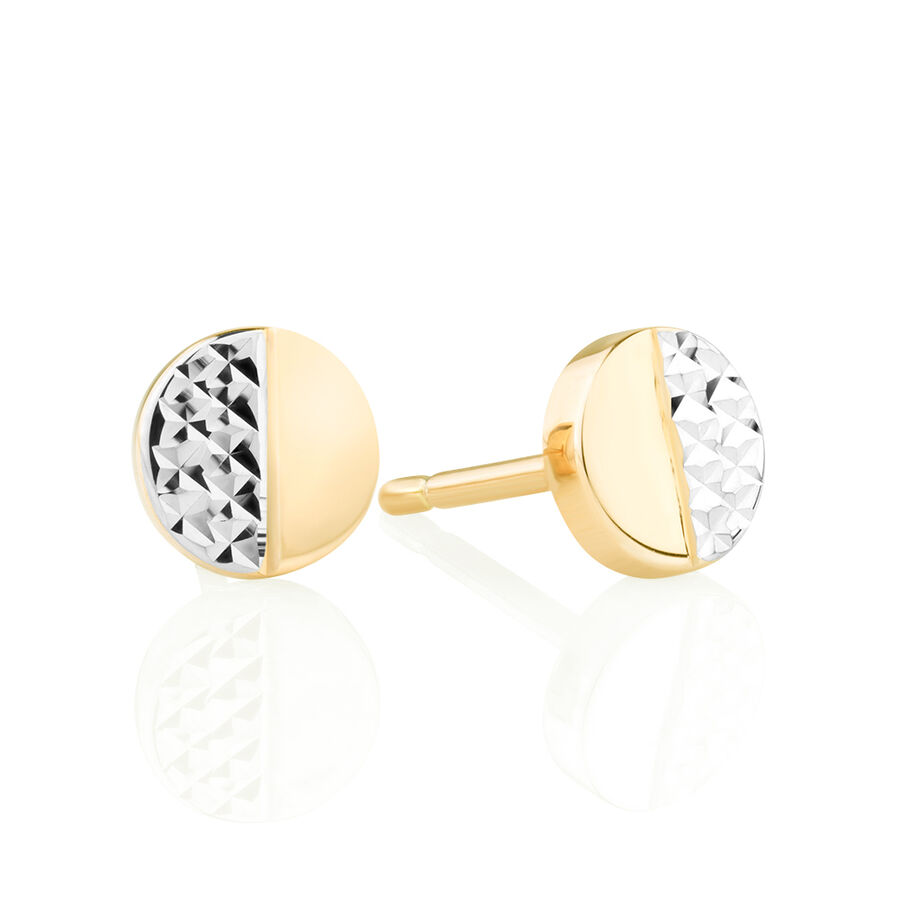 Circle Stud Earrings in 10kt Yellow & White Gold
