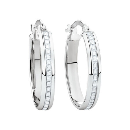 Glitter Hoop Earrings in 10kt White Gold