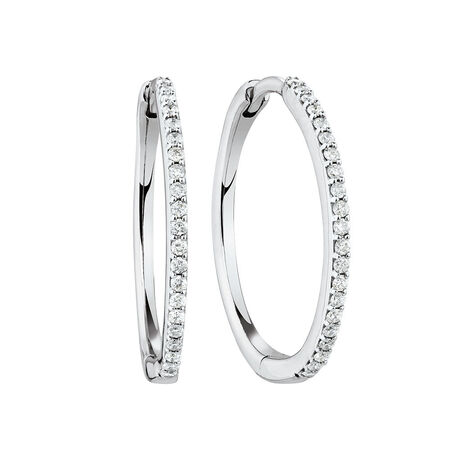 Medium Huggie Earrings in 10kt White Gold With 1/4 Carat TW of Diamonds