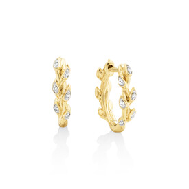 Willow Hoop Earrings With Diamonds In 10kt Yellow Gold