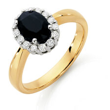 Ring with Sapphire & 1/4 Carat TW of Diamonds in 10kt Yellow & White Gold