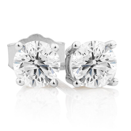 Stud Earrings with 0.71 Carat TW of Diamonds in 10kt White Gold