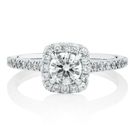 Engagement Ring With 0.95 Carat TW Of Diamonds In 14kt White Gold