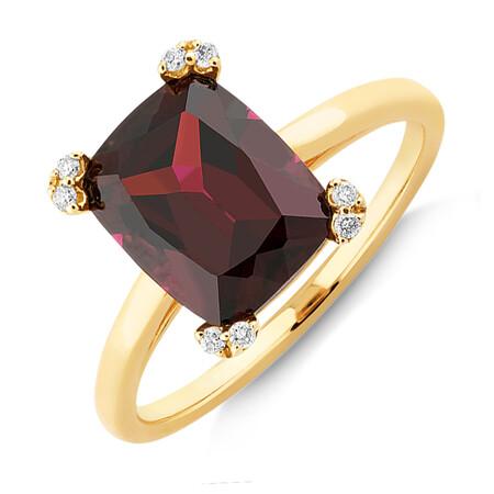 Ring with Rhodolite Garnet & Diamonds In 10kt Yellow Gold