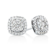 Cluster Earring with 1 Carat TW of Diamonds in 10kt White Gold