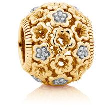Diamond Set 10kt Yellow Gold Lace Filigree Flower Charm