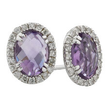 Online Exclusive - Earrings with Amethyst & Diamonds in 10kt White Gold
