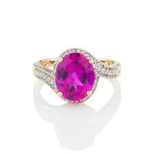 Ring with Created Pink Sapphire & 1/4 Carat TW of Diamonds in 10kt Yellow Gold
