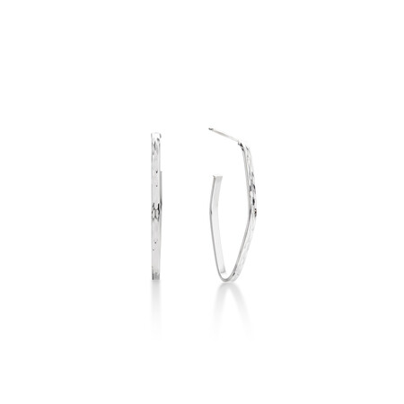 Geometric Hoop Stud Earrings in 10kt White Gold