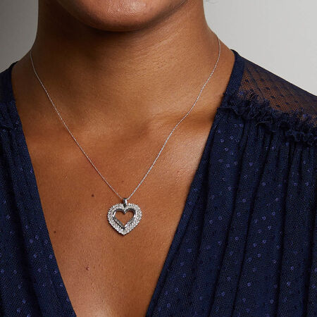 Heart Pendant with 1 Carat TW of Diamonds in 10kt White Gold