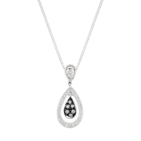 Pendant with 1/4 Carat TW of White & Silvermist Diamonds in Sterling Silver