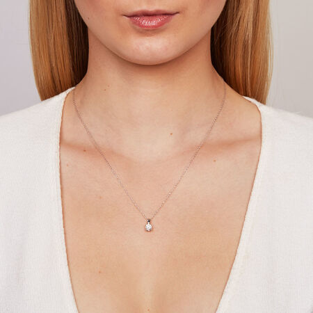 Solitaire Pendant with a 1/2 Carat Diamond in 18kt White Gold