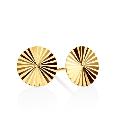 Patterned Circle Stud Earrings In 10kt Yellow Gold