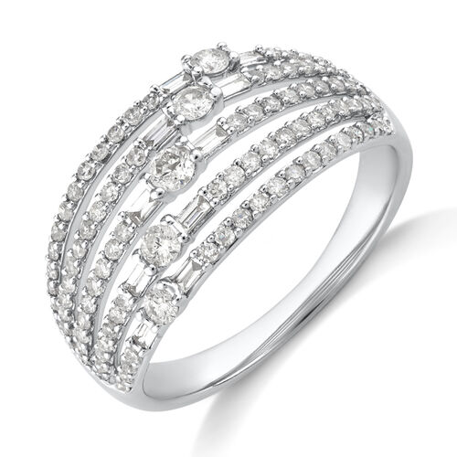 Multi Row Ring with 0.75 Carat TW Diamond in 10kt Yellow Gold