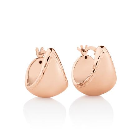 Diamond Cut Edge Earrings in 14kt Rose Gold