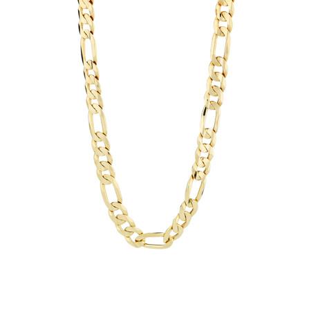 "55cm (22"") Figaro Chain in 10kt White Gold"