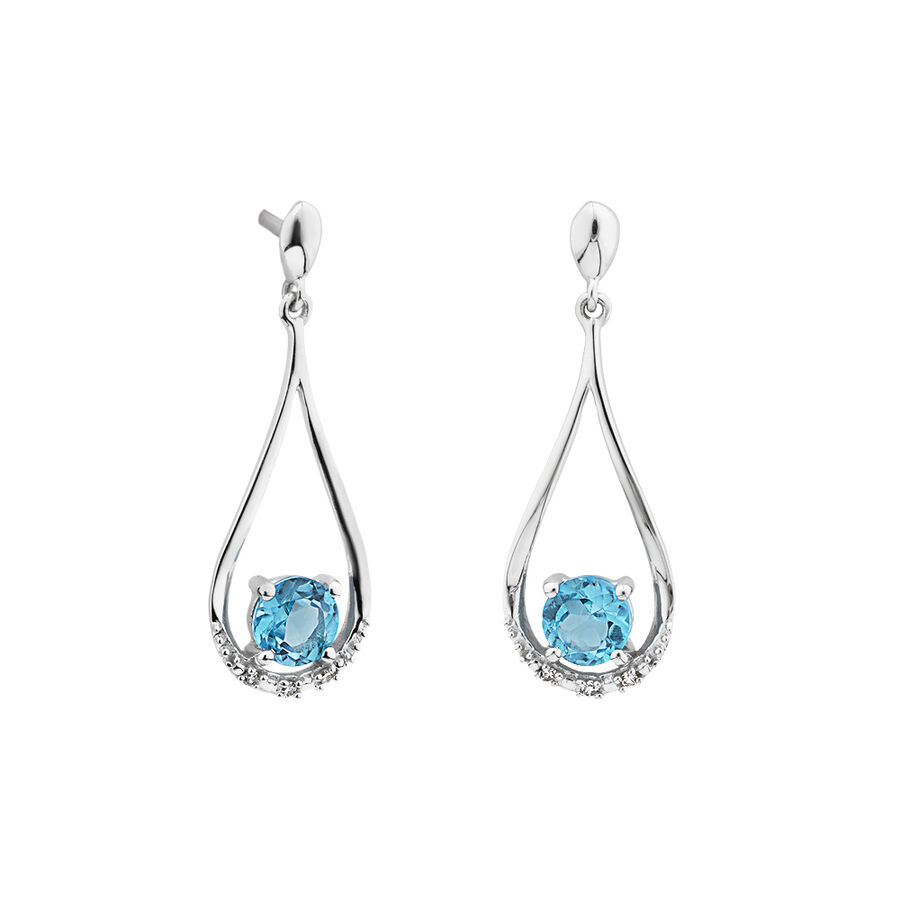 Drop Earrings with Topaz and Diamonds in in 10kt White Gold