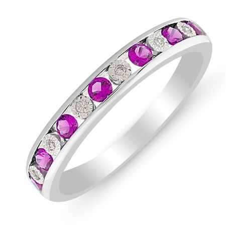 Ring with Amethyst & Diamond in Sterling Silver