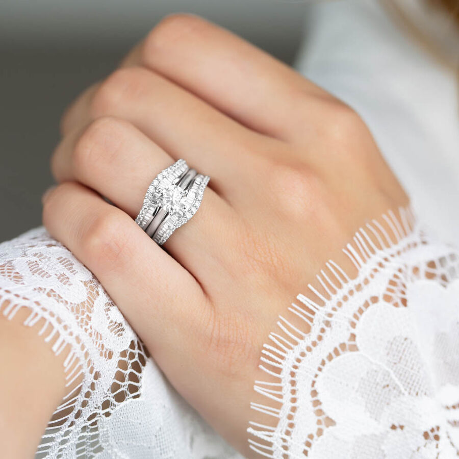 Enhancer Ring with 3/4 Carat TW of Diamonds in 14kt White Gold