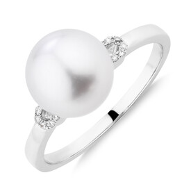 Ring WithSouth Sea Pearl & 0.5 Carat TW Diamonds In 14kt White Gold
