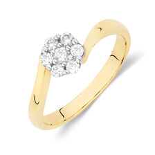 Online Exclusive - Flower Cluster Ring with 1/4 Carat TW of Diamonds in 10kt Yellow and White Gold