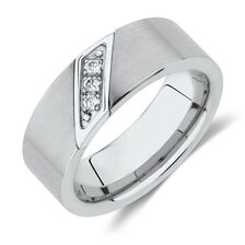 Men's Ring with Diamonds in White Tungsten