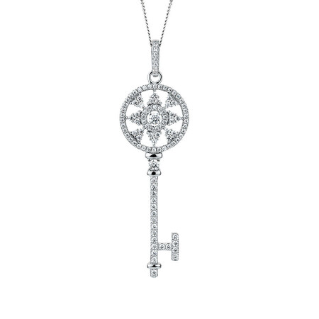 Key Pendant with Cubic Zirconia in Sterling Silver