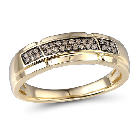 Ring with 0.16 Carat TW of Enhanced Brown Diamonds in 10kt Yellow Gold