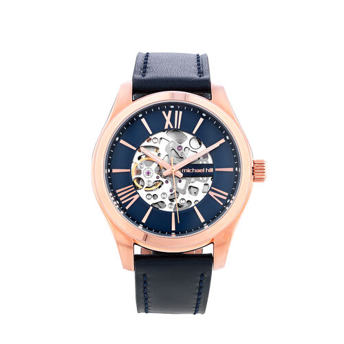 Michael Hill Automatic Skeleton Watch In Rose Tone Stainless Steel And Leather