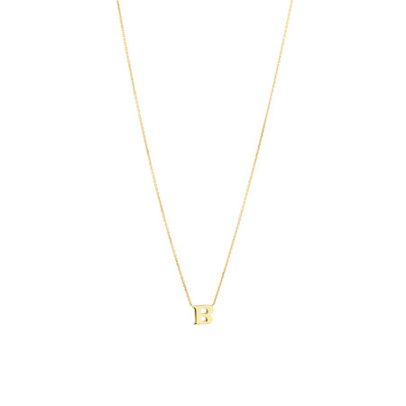 """B"" Initial Necklace in 10kt Yellow Gold"