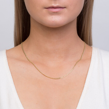 """45cm (18"""") Hollow Curb Chain in 10kt Yellow Gold"""