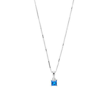 Square Pendant with Dark Blue Cubic Zirconia in Sterling Silver