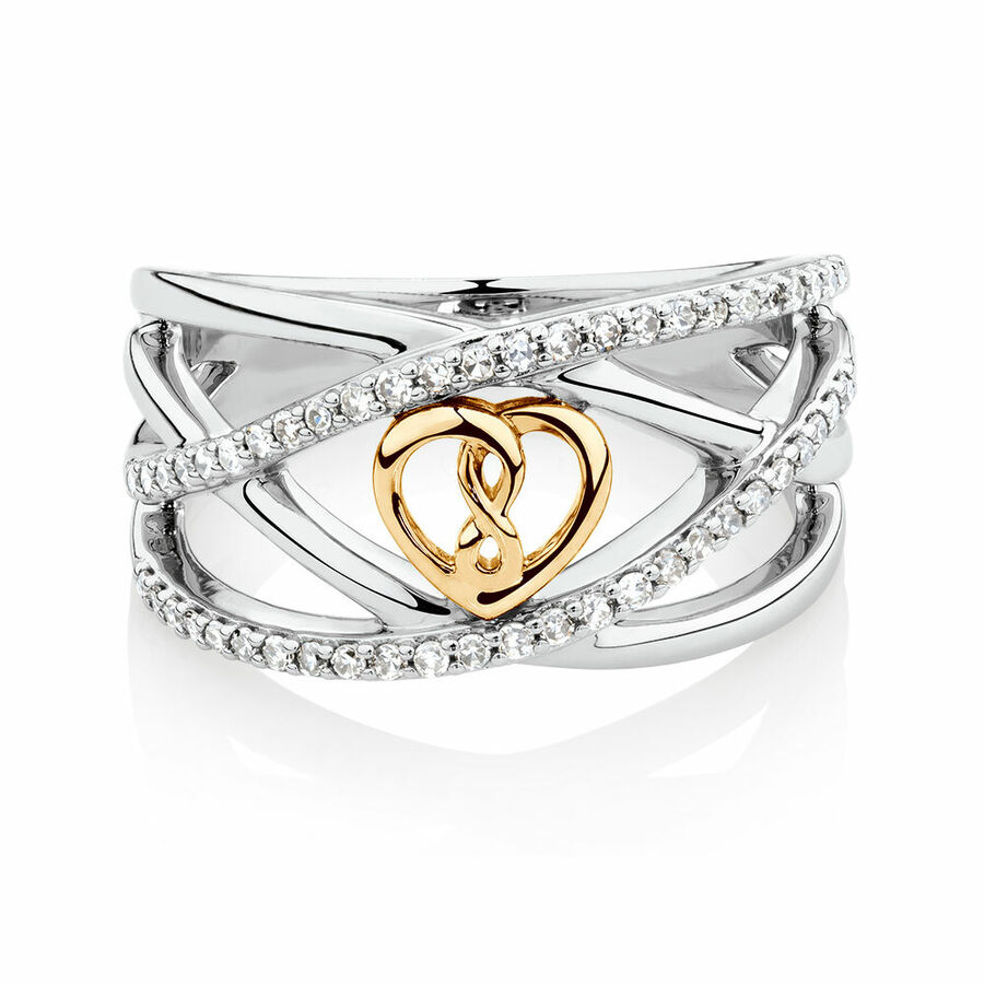 Infinitas Ring with 1/4 Carat TW of Diamonds in 10kt Yellow Gold & Sterling Silver