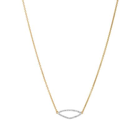 Organic Shape Pendant with Diamond in 10kt Yellow Gold